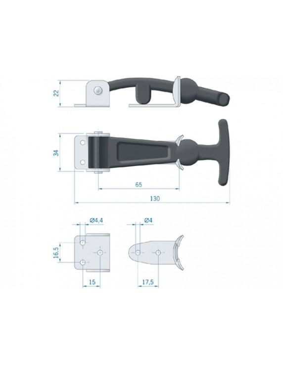 T-vormige luikbevestiging RVS anti tril 130 mm