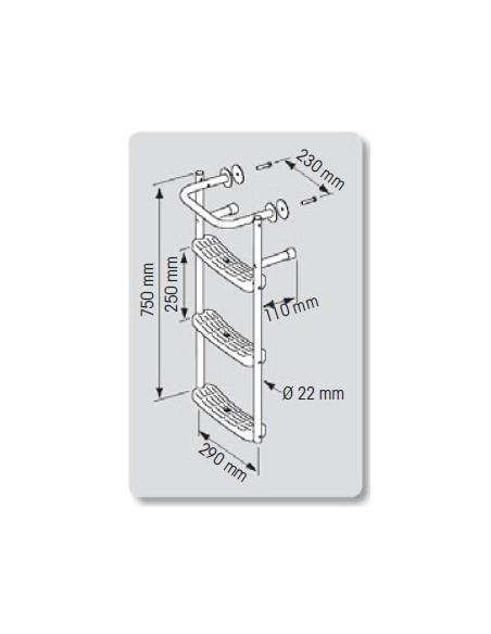 RVS ladder voor rechte spiegel, 3 trd