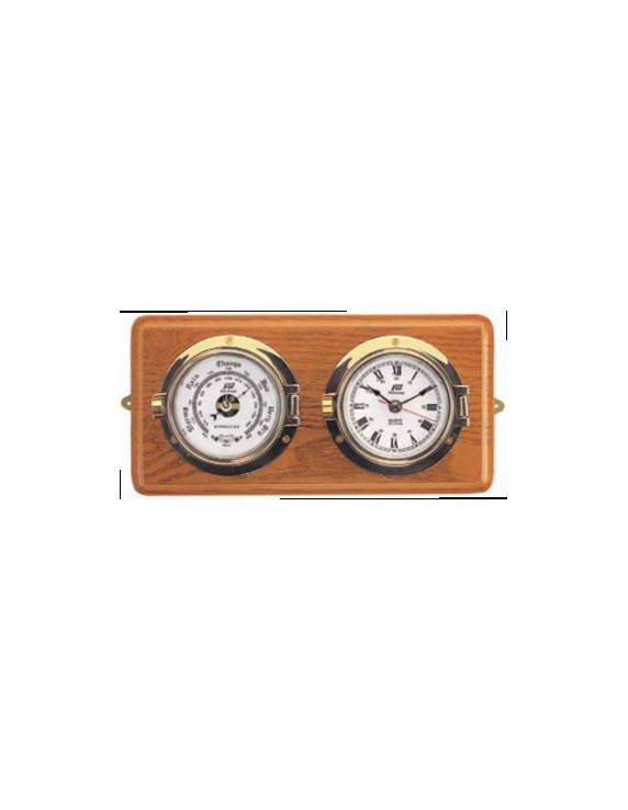Klok en barometer 3 inch op houten basis