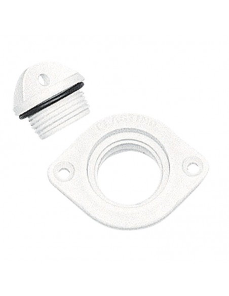 Plug polyamide met O-ring ovaal wit 48x36 mm