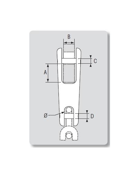 Ankerconnectors dubbele as, RVS gegoten 1 deel