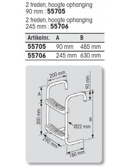 RVS steiger- of bijbootladder in 2 maten
