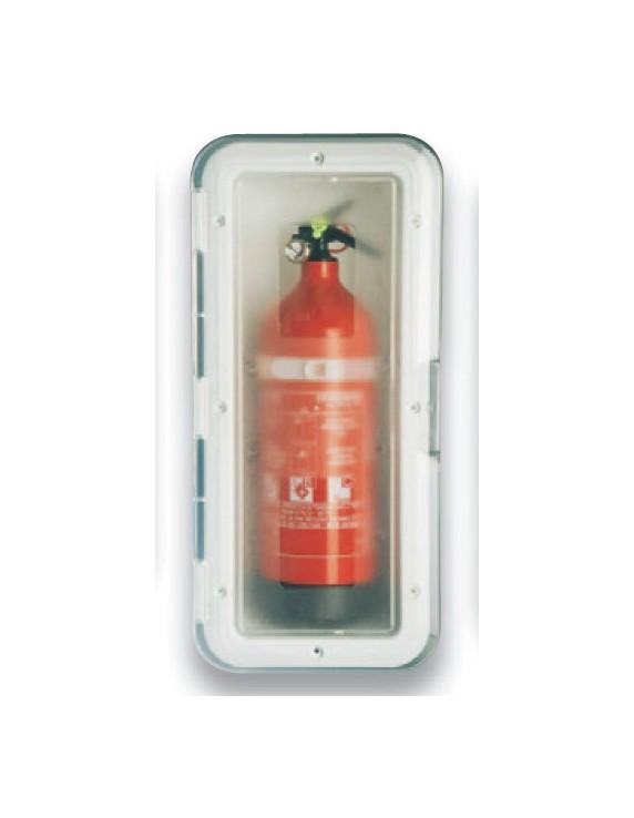 Brandblusserkast wit transp. deur 1 kg