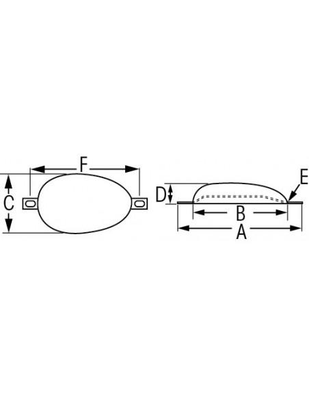 Half-eivormie anodes zink