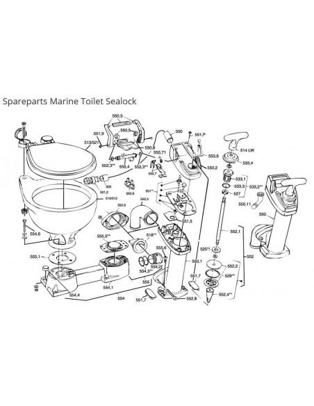 RM69 onderdelen Marine Sealock Toilet