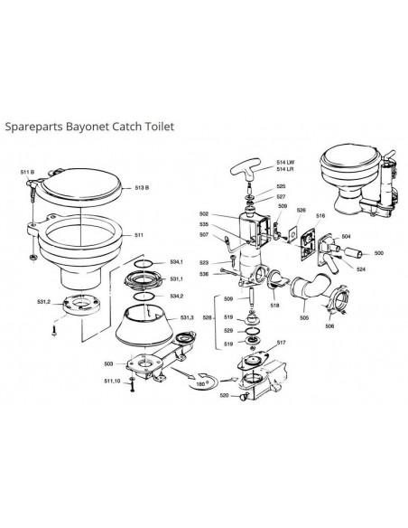 RM69 onderdelen Handtoilet met Bayonet sluiting